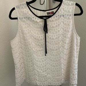 Vince Camuto white lace sleeveless blouse